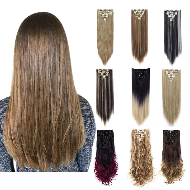 Прямые/волнистые вьющиеся пряди для наращивания волос Lelinta, 7 шт., 16 зажимов, 22 дюйма, 24 дюйма, двойные пряди волос для женщин