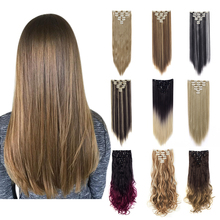 Lelinta 7Pcs 16 Clips 22'' 24'' Straight/Wavy Curly Full Head Clip In on Double Weft Hair Extensions,Fake Hair for Women