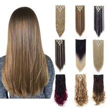 Lelinta 7 Stuks 16 Clips 22 ''24'' Rechte/Golvend Krullend Volledige Hoofd Clip In Op Double Inslag hair Extensions, nep Haar Voor Vrouwen