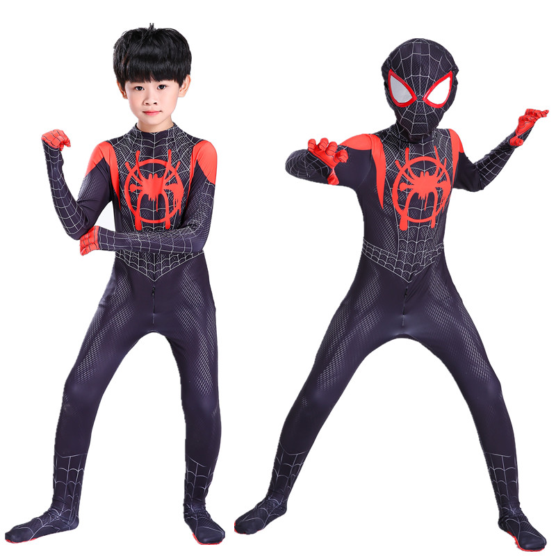 Black Spiderman  Boy Cosplay Costume Into The  Miles Morales Zentai Bodysuit Clothing Adult Kids Superhero Halloween Costumes