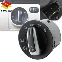 YOUEN Headlight Fog Light Control Switch Replacement For Golf 5 6 MK5 MK6 Passat B6 B7 CC Touran Tiguan Chrome Car Accessories