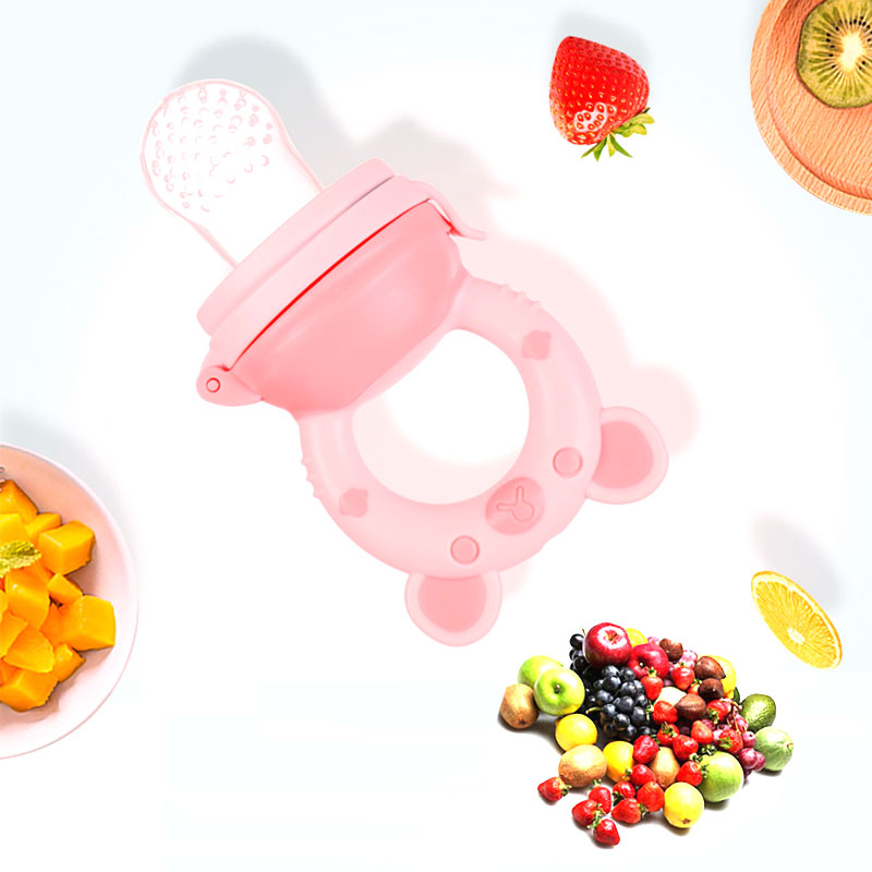 1Pcs Bear Handle Pacifier Feeder For Baby Food Grade Silicone PP Training Nipple Milk Fresh Fruit Nibbler Teat Pacifier Bottles