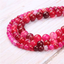 Rose Red Agate Natural Stone Beads For Jewelry Making Diy Bracelet Necklace 4/6/8/10/12 mm Wholesale Strand