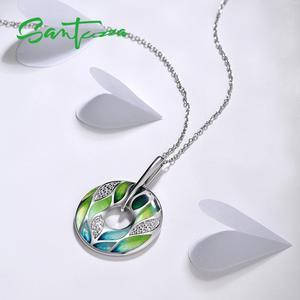 SANTUZZA Silber Anhänger Für Frauen Echtes 925 Sterling Silber Grün Bambus blätter Leucht CZ Trendy Schmuck Handgemachte Emaille