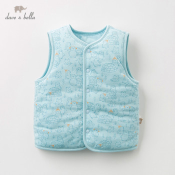 DB12754 dave bella unisex baby autumn winter vest children sleeveless coat baby fashion high quality vest image