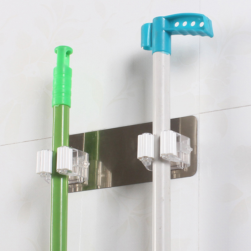 New Multifunctional Self Adhesive Broom Holder For Kitchen Brush And Bathroom Wall Hooks Tool 11