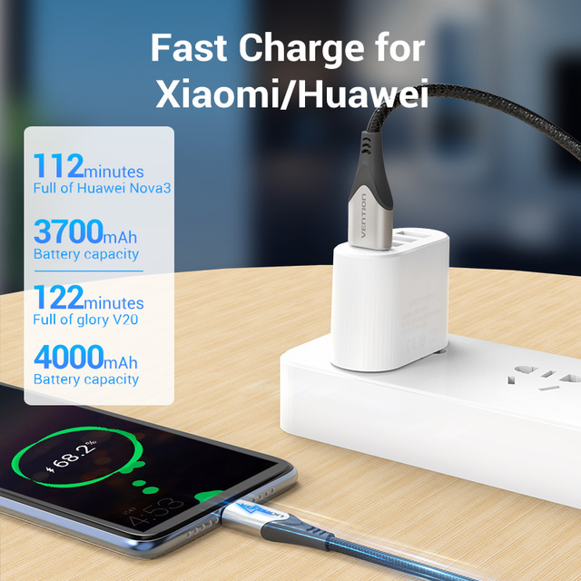 Vention USB Type C Cable for Huawei P40 3A Fast USB Charging USB C Charger Date Wire for Xiaomi Redmi note 8 Type-C Cabo Cable 2