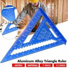 Regla de ángulo métrico de 7 pulgadas y 12 pulgadas, Regla de medición Triangular de aleación de aluminio, velocidad de trabajo en madera, transportador de ángulo cuadrado Triangular