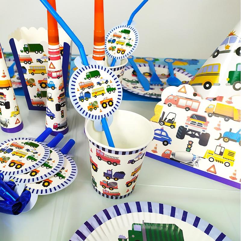 Engineering Car Theme Birthday Disposable Tableware Cartoon Dinner Plate Napkin Paper Straw Happy Birthday Decor Kids Boy