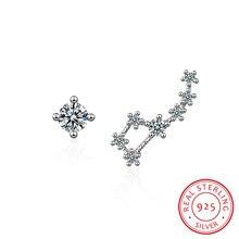 цена на 925 Sterling Silver Cubic Zirconia Big Dipper Asymmetric Stud Earrings For Women Romantic Lady Fashion Jewelry