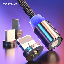 YKZ magnetyczny kabel USB do Huawei Samsung typ C type-c ładowanie USB C kabel magnetyczny kabel micro USB przewód telefoniczny do iphone #8217 a tanie tanio Typu C 30 Pin 2 4A LIGHTNING Magnetyczne 3 w 1 Black Red Silver Aluminum Plug+Nylon Cable 360 Degree Rotate Round LED Magnetic Cable