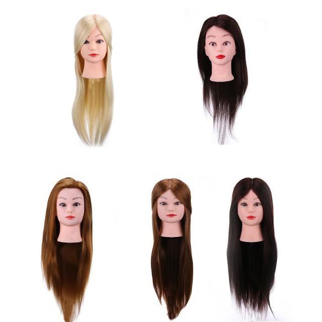 理髪トレーニングヘッド本物の人間の髪の人形美容マネキンヘッド美容マネキン
