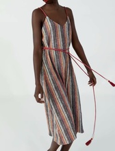 Bohemian Spaghetti Strap Stripe Dress With Sashes za cotton style A-Line Beach