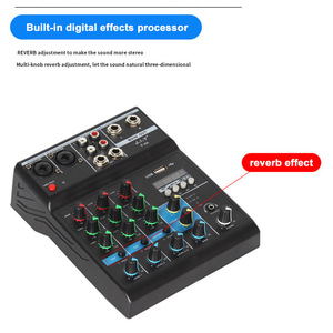 Image 3 - Professional 4 Channel bluetooth Mixer Audio Mixing DJ Console with Reverb Effect for Home Karaoke USB Stage Karaoke KTV