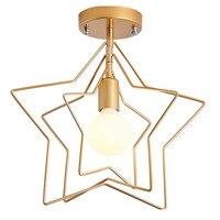 LukLoy Ouro Estrela Lâmpada Do Teto Do Corredor Quarto Sala de estar de Luxo Luzes de Decoração de Ferro Arte Moderna Simples Café Luzes de Teto
