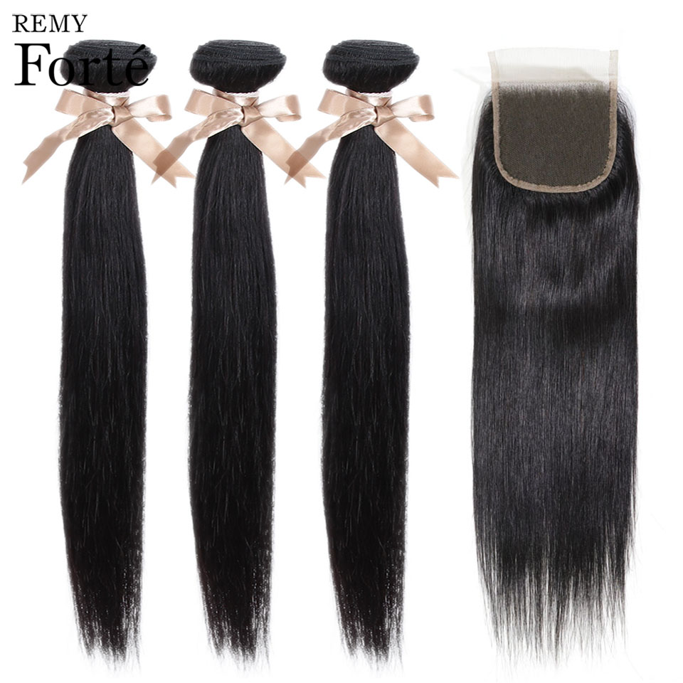 Remy Forte Straight Hair Bundles With Closure Non Remy 8 30 Inch Hair Brazilian Hair Weave Innrech Market.com