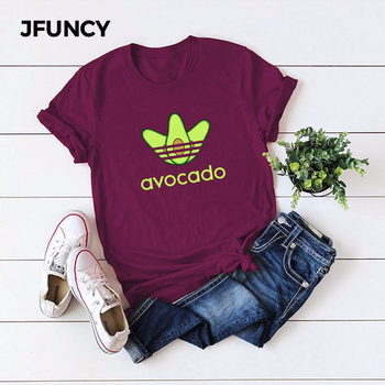 JFUNCY Funny Avocado Women T Shirts Summer Female Short Sleeve Harajuku Shirt Femme Office Mom Tops 5XL Plus Size Graphic Tees недорого