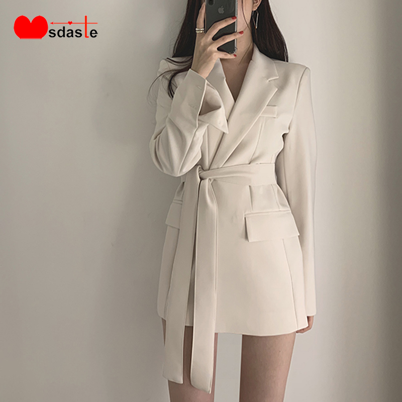 Women Blazers Coats 2019 New Office Lady Belted Jacket And Coat Blaser Feminino Elegant Long Sleeve Solid Suit Blazer Outerwear