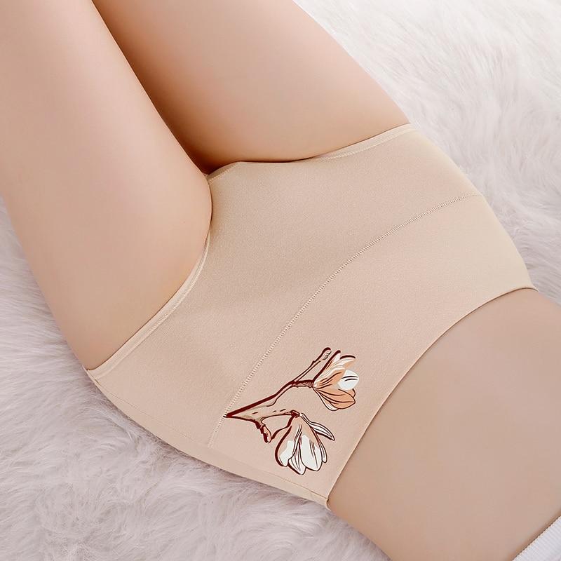 Cotton high-waist women's panties printed Lady underwear abdomen briefs 1