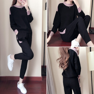 Image 4 - Women Winter Woolen And Cashmere Pattern Knitted Warm Suit O Neck Sweater+Pants Tracksuit Two Piece Set Female Sporting Suits