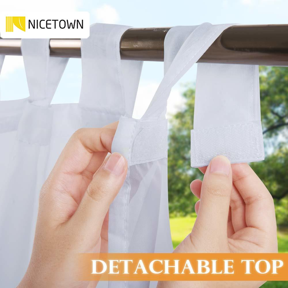 NICETOWN Outdoor Curtain for Patio Detachable Sticky Tab Top for Easy Hanging Waterproof Outside Porch White Sheer with a Rope