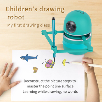Chinese New Small Magic Q Drawing Robot Toys for Kids/Students Learning Draw Toys Children Toys Boys Girls Toys