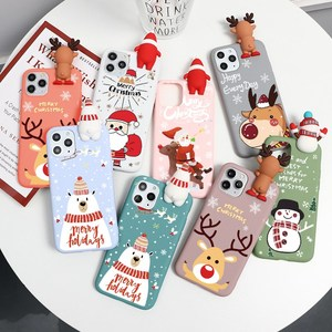Cute 3D Cartoon Doll Christmas Deer Case For iPhone 11 12 12mini Pro Max XR X 7 8 6 6S Plus XS Max SE 2020 5 S Silicon Cover Elk