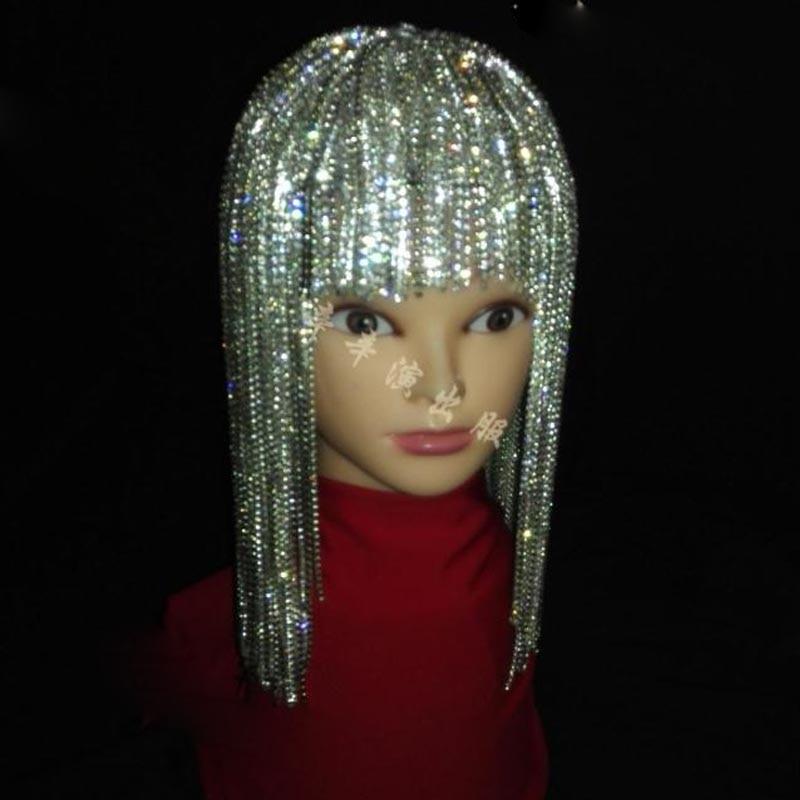 Nightclub Bar DS DJ Female Singer Dance Show GoGo Full Rhinestone Tassel Wig Headwear Flash Drill Hat DWY2635