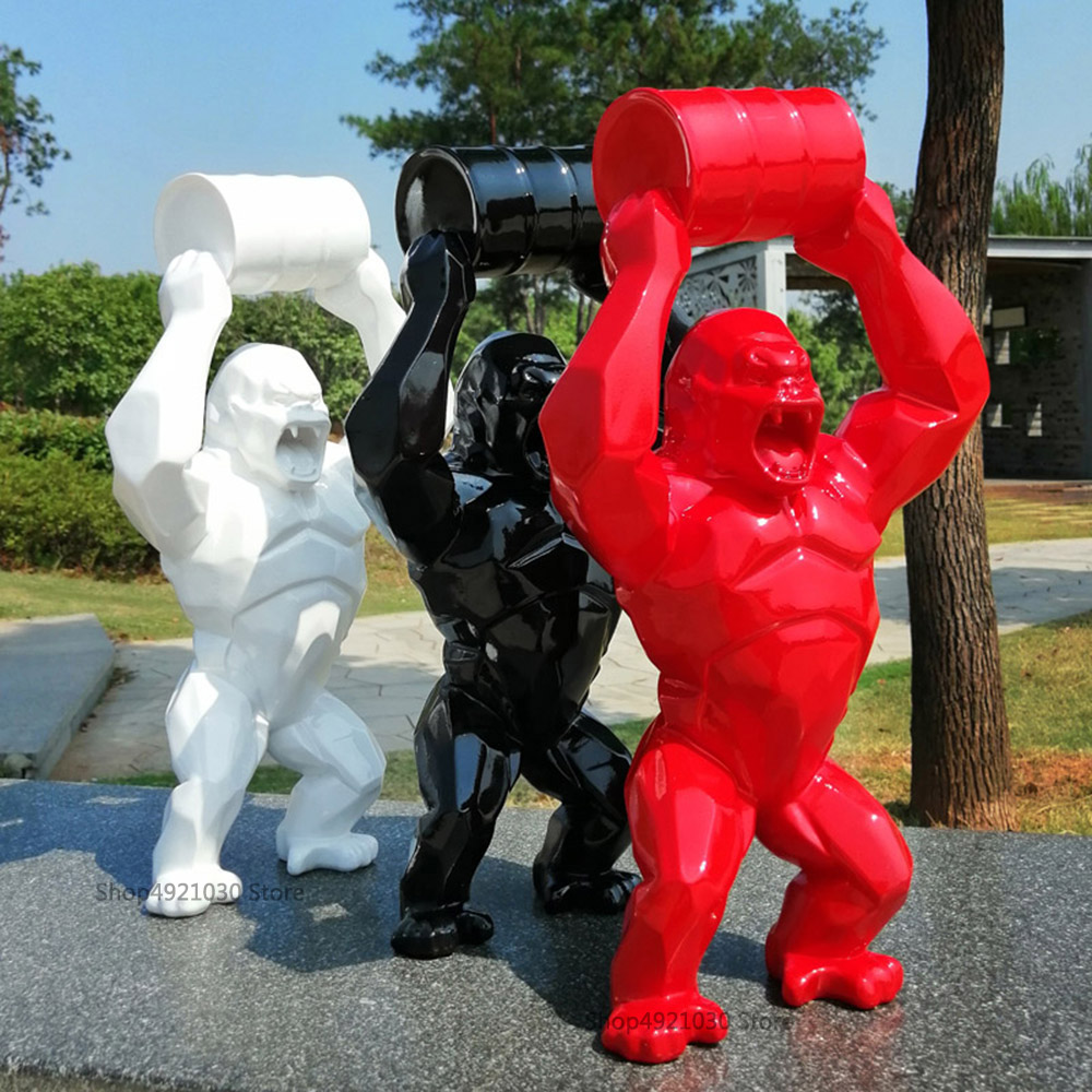 "16/"" Creative King Kong Decoration Art Craft Animal Simulation Resin Statue 40cm"