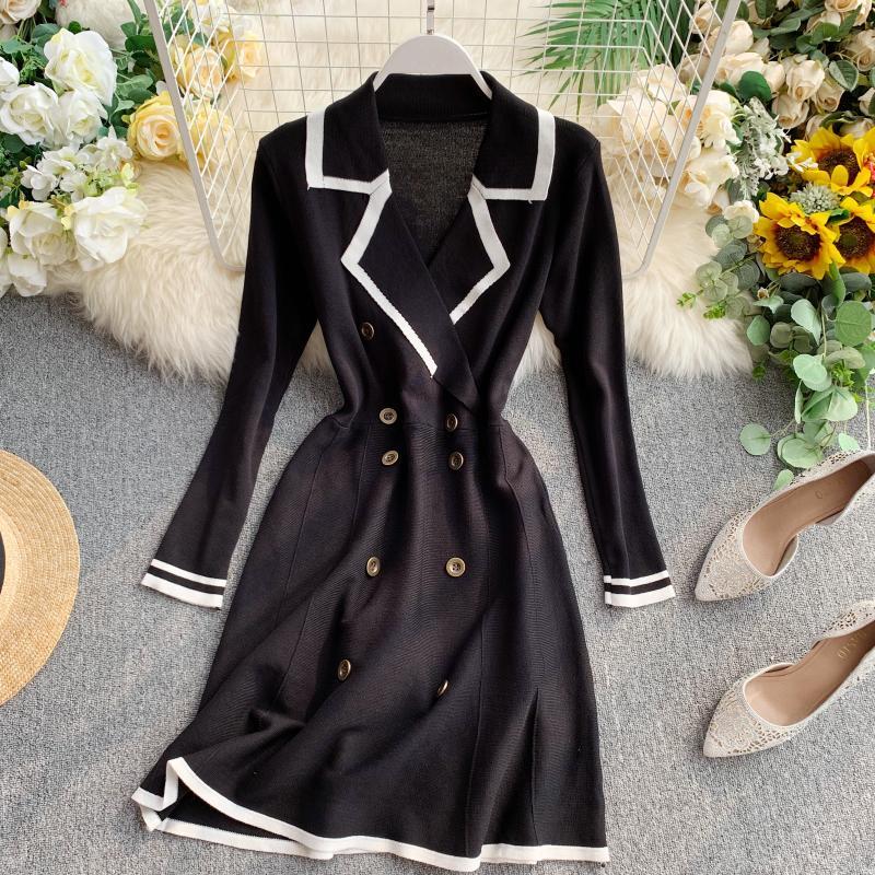 ALPHALMODA Retro Autumn Dress 2019 New Lapel Collar Long-sleeved Dress Double-row Button-down Slim OL Casual Knit Dress 38