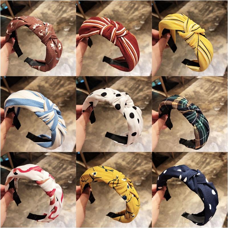 Fashion Head Hoop Top Knot Hairband Turban Elastic Stripe Hair Bezel Headband For Women Girl Printing Headdress Hair Accessories