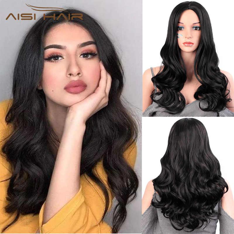 Волосы AISI 26 дюймов натуральные волнистые парики синтетические черные длинные парики для черных женщин термостойкие волоконные волосы волнистые парики