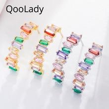 Qoolady Design Unique Half Round Rainbow Color Hoop Earrings Women CZ Stone Yellow Gold Popular Brand Jewelry Accessories E016