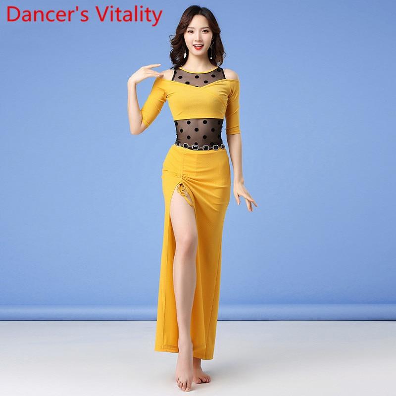 New Winter Women Belly Dance Practice Clothes Mesh Splicing Top Drawstring Skirt Set  Oriental Indian Dancing Training Garments