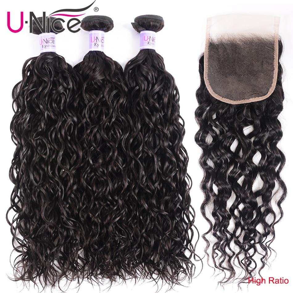 UNice Hair Kysiss Series Water Wave Virgin Hair Peruvian Human Hair Weaving Water Wave Bundles With Closure Virgin Hair