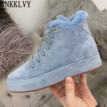 Snow-Boots Platform-Wool-Lining Suede Women Casual-Shoes High-Top Comfort Ankle-Botas