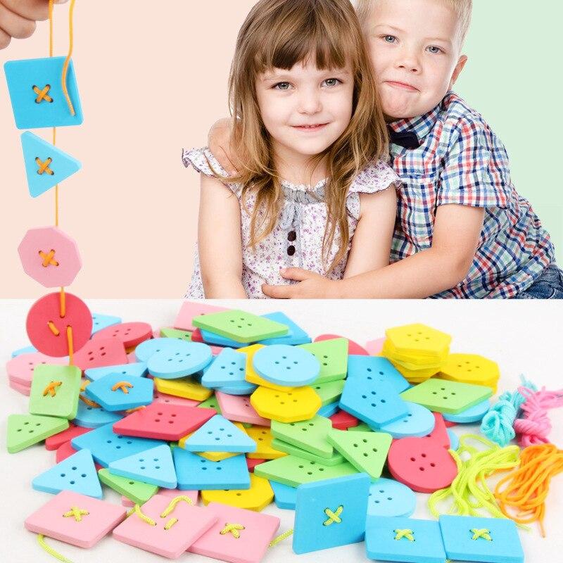Wooden Boy Intelligence-Year-Old CHILDREN'S Toy Women's 1-2-3-6 Unisex Baby Button String Wearing Rope Button Beaded Bracelet Pr