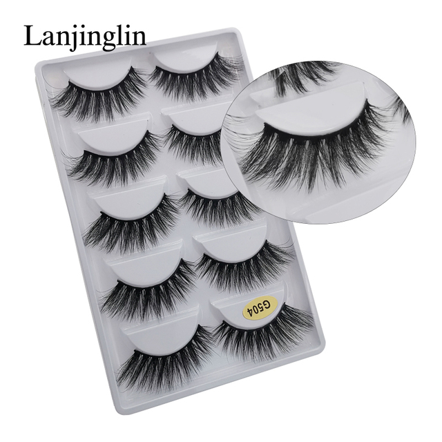 LANJINGLIN 1/3/5 pairs 3D mink hair false eyelashes natural long eye lashes wispy makeup eyelash extension sexy fake lash cilios