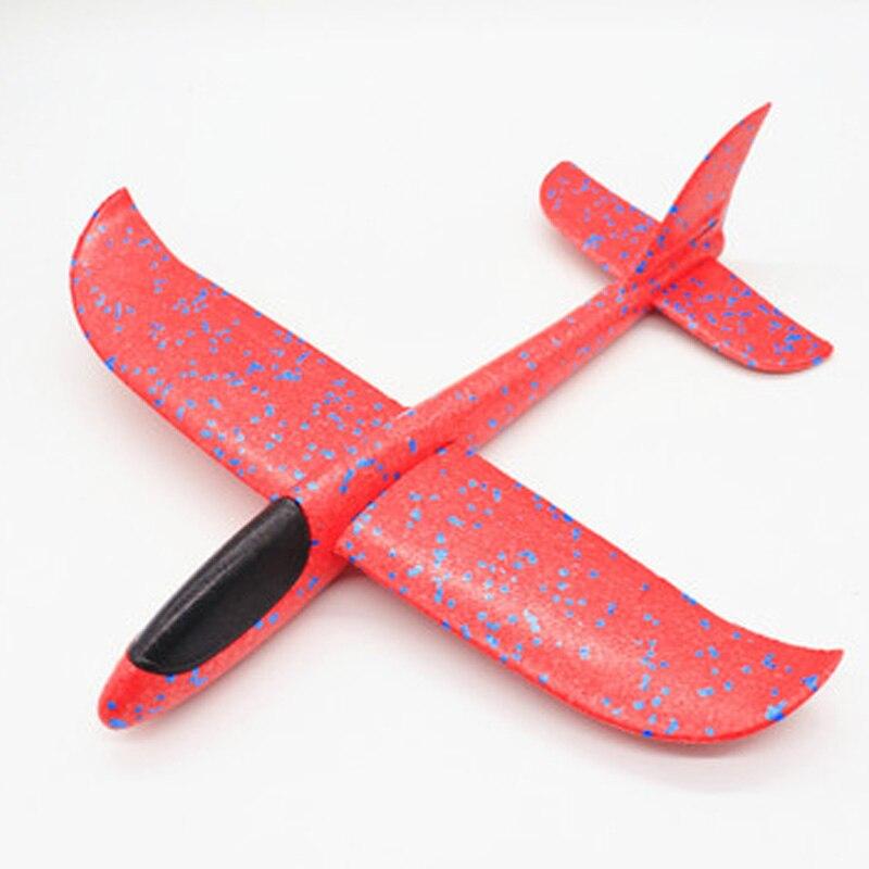 35 см детские игрушки «сделай сам» ручной бросок летающий самолет s пена модель аэроплана светится в темноте Летающий Plane Самолет игрушки для детей - Цвет: 48cm Not Lamp Red