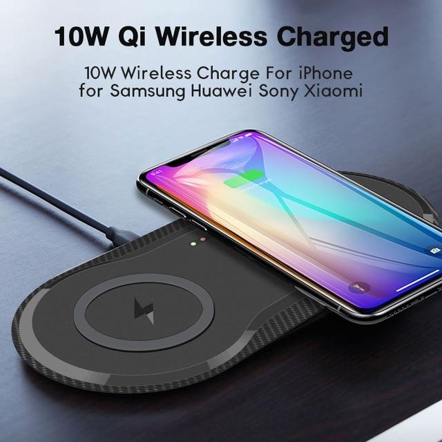 10W כפול QI מטען אלחוטי Pad עבור IPhone 11 X XR XS מקסימום 8 בתוספת Samsung Galaxy S10 Xiao mi mi 9 מהיר אלחוטי טעינת Dock