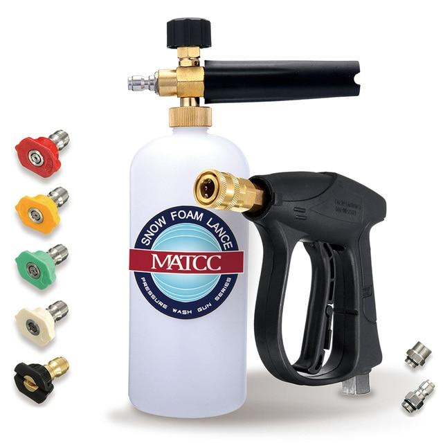 "MATCC 200Bar Sonw Foam Gun 1/4 ""퀵 릴리스 M22 14mm 인렛 폼 랜스 자동차 세탁기 압력 와셔 건 비누 랜스 스프레이 어"