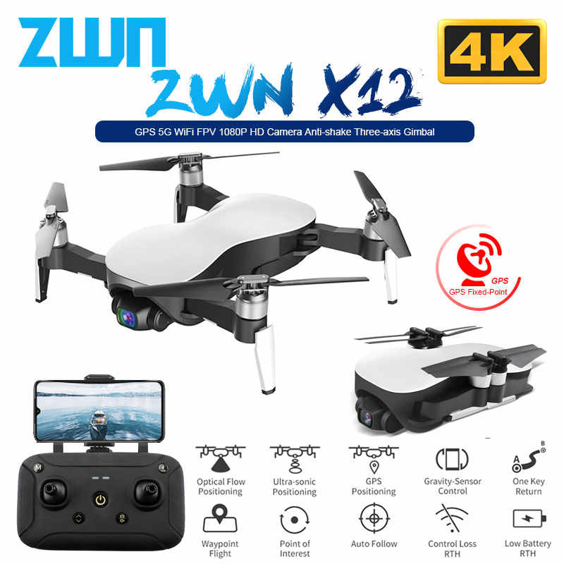 ZWN X12 Anti-shake 3 Axis Gimble GPS Drone met WiFi FPV 4K HD Camera Borstelloze Motor Opvouwbare quadcopter Vs H117s Zino