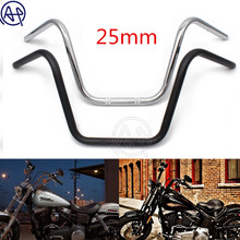 цена на 25MM 1 Motorcycle High Rider Steel Handlebars Bars Fits For Honda Kawasaki Suzuki Harley Chopper Bobber Cafe Racer Chrome/Black