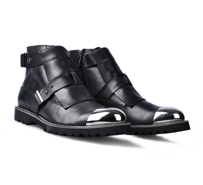 Men's Double Buckle Booties High Top Single Casual Leather Dress Shoes Fashion Zip Metal Toes Boots