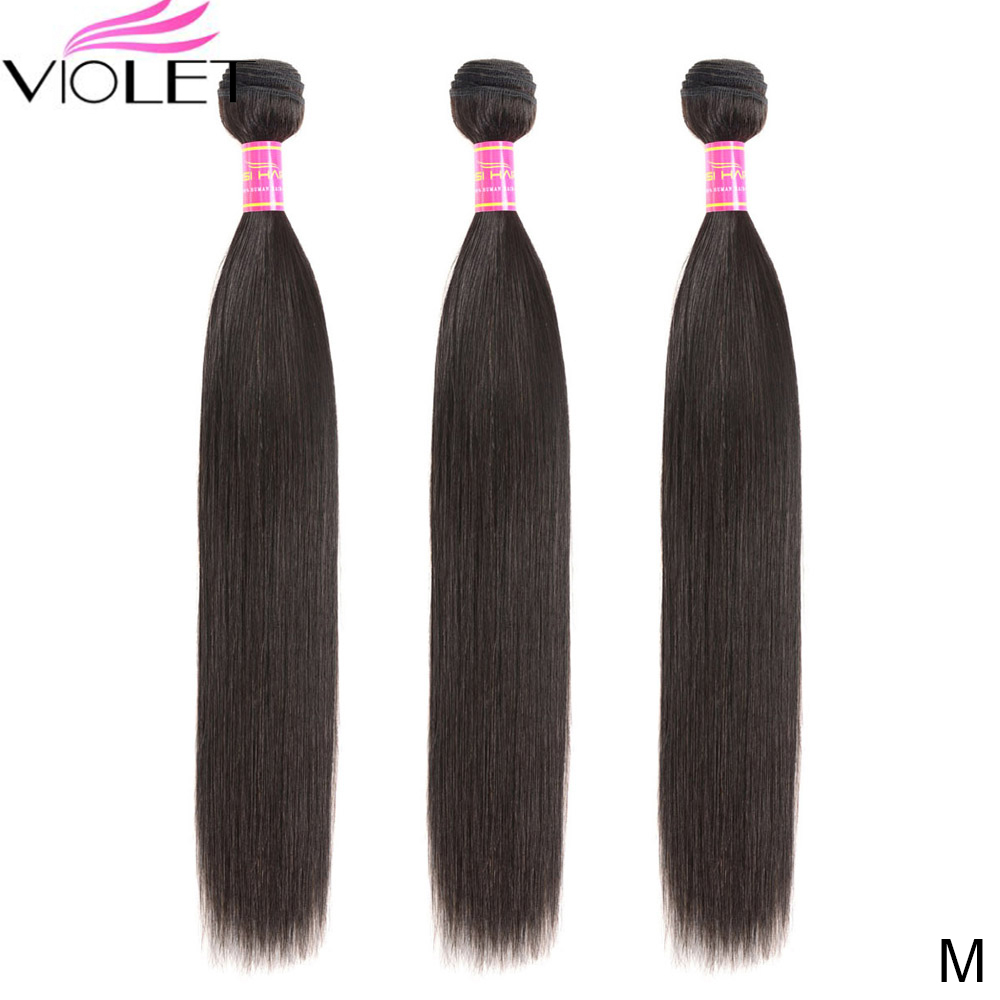 Violeta peruano feixes de cabelo reto médio 8