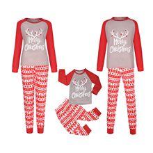 Parent-enfant noël mignon mode imprimé Blouse à manches longues haut + pantalon noël Famille correspondant Pyjama ensemble Pyjama Noel Famille 5 *