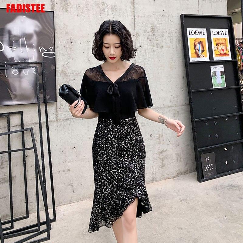 Nouveauté robe de soirée robes de soirée robe de style sirène robe de bal courte robes de fiesta de noche paillettes petites robes noires