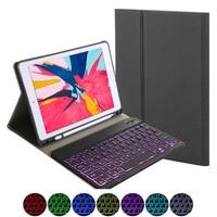 Для ipad 7 10,2 дюймов 7 цветов планшет с подсветкой Bluetooth клавиатура с тканевыми метками планшет кожаный защитный чехол с держателем для ручки