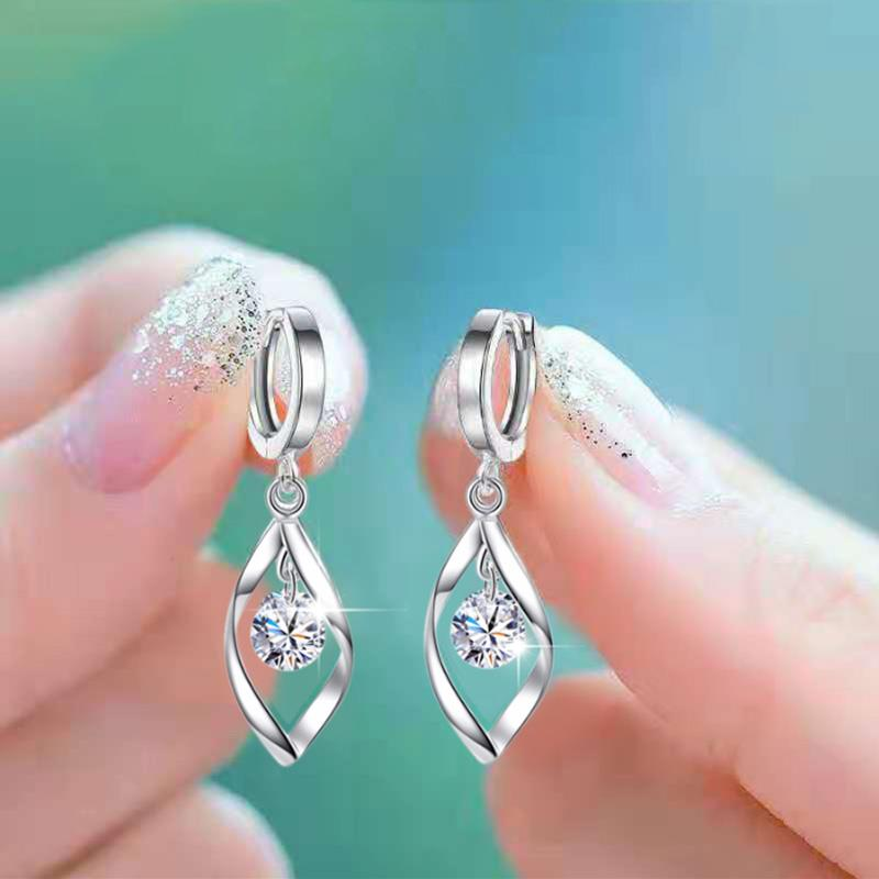 Small Round White Zircon Drop Earrings For Women Dainty Jewelry Shining Blue Crystal Pink Stone Earrings Female Engagement Gifts