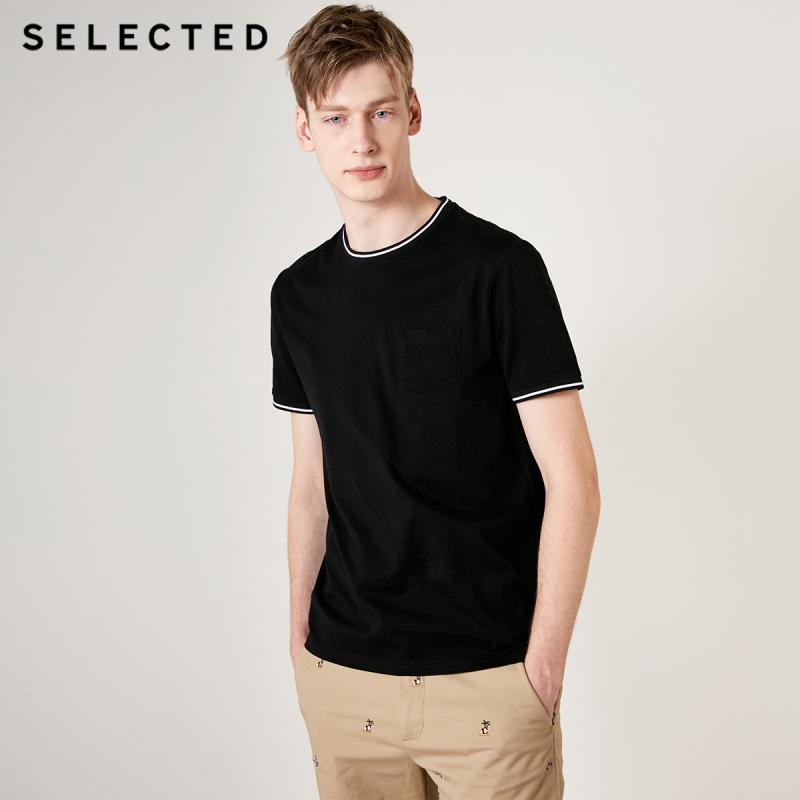 SELECTED Men's 100% Cotton Pure Color Short-sleeved T-shirt S|419201603